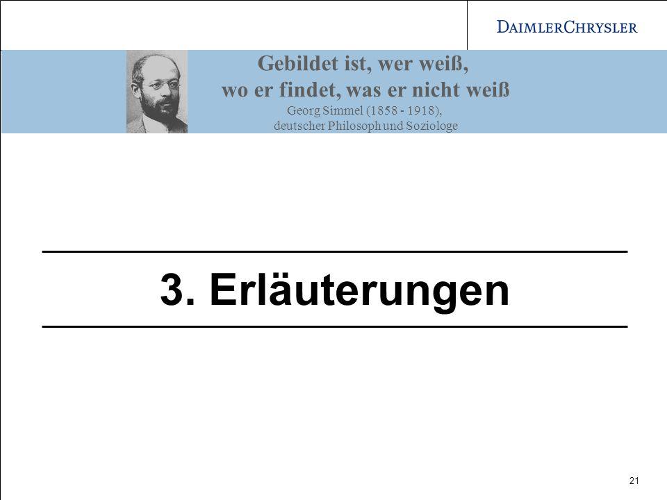 21 3. Erläuterungen Gebildet ist, wer weiß, wo er findet, was er nicht weiß Georg Simmel (1858 - 1918), deutscher Philosoph und Soziologe