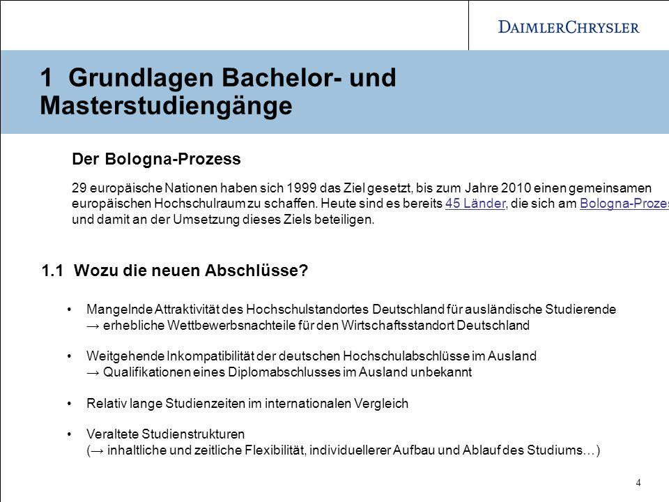 4 1 Grundlagen Bachelor- und Masterstudiengänge 1.1 Wozu die neuen Abschlüsse? Mangelnde Attraktivität des Hochschulstandortes Deutschland für ausländ