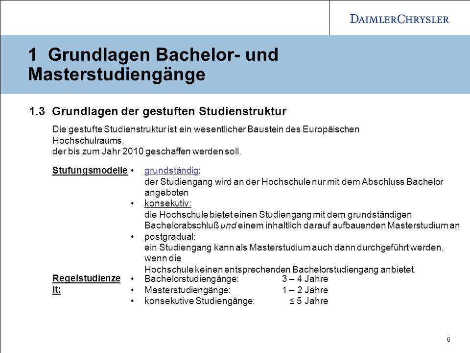 7 1 Grundlagen Bachelor- und Masterstudiengänge 1.3.1 Grundlagen Bachelorstudium Zulassungsvoraussetzung sind die üblichen Hochschulzugangsberechtigungen.