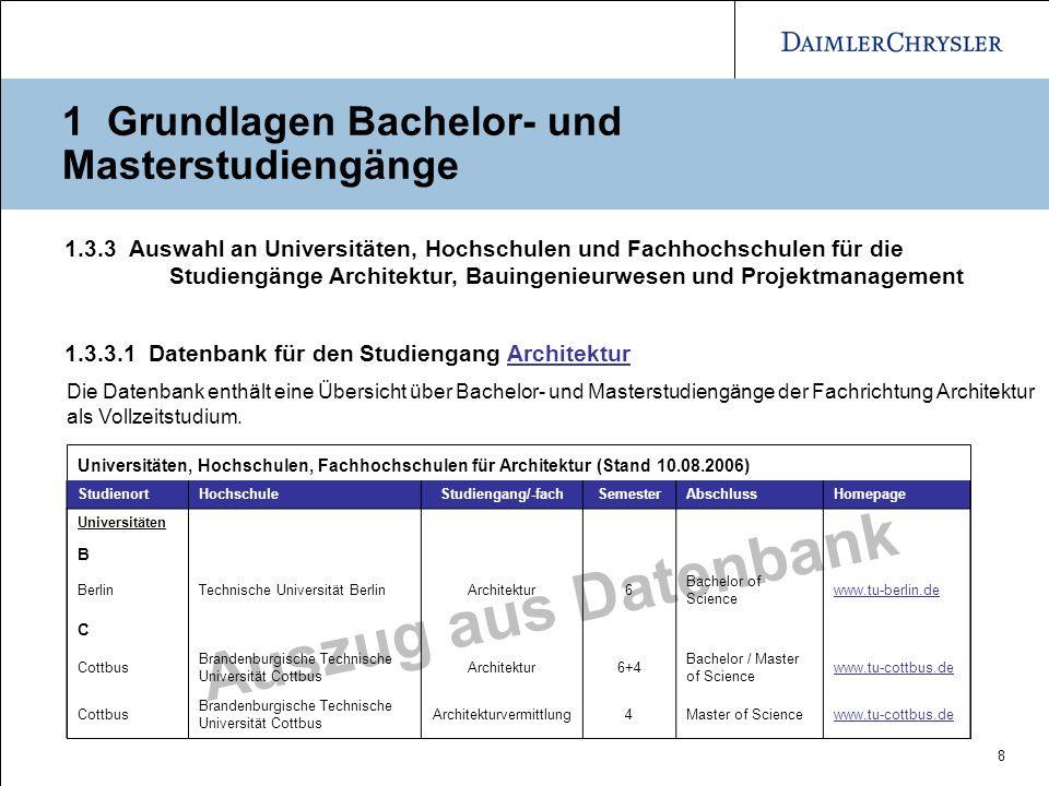 8 Auszug aus Datenbank 1 Grundlagen Bachelor- und Masterstudiengänge 1.3.3.1 Datenbank für den Studiengang ArchitekturArchitektur Die Datenbank enthäl