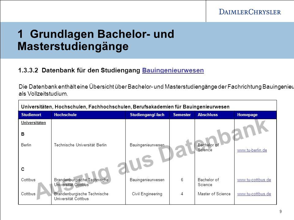 9 Auszug aus Datenbank 1.3.3.2 Datenbank für den Studiengang BauingenieurwesenBauingenieurwesen Universitäten, Hochschulen, Fachhochschulen, Berufsaka