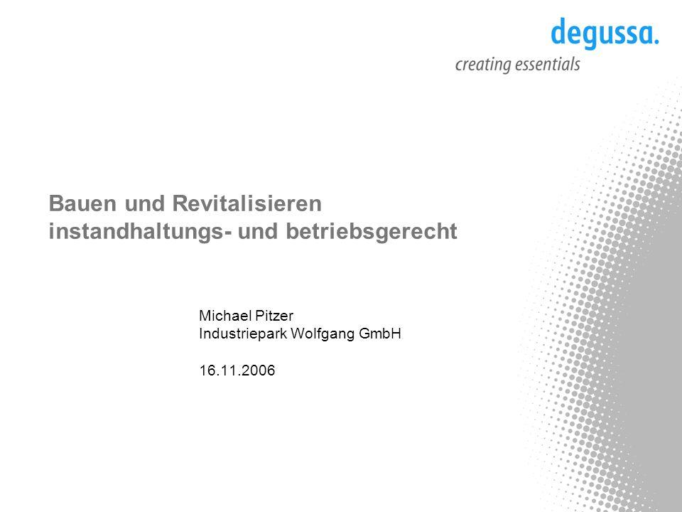 Bauen und Revitalisieren instandhaltungs- und betriebsgerecht Michael Pitzer Industriepark Wolfgang GmbH 16.11.2006