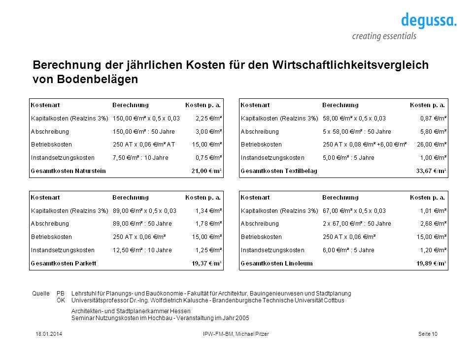Seite 1018.01.2014IPW-FM-BM, Michael Pitzer Berechnung der jährlichen Kosten für den Wirtschaftlichkeitsvergleich von Bodenbelägen QuellePBLehrstuhl f