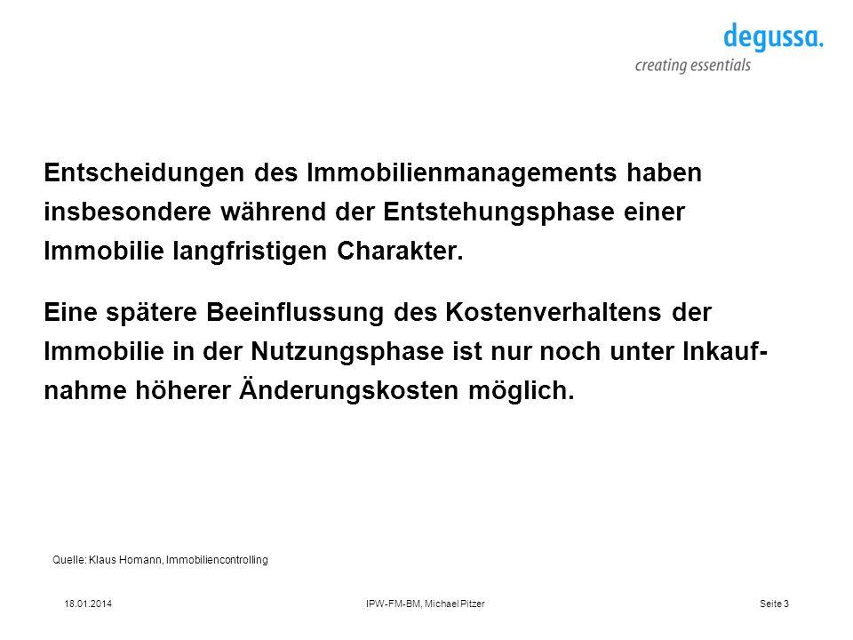 Seite 318.01.2014IPW-FM-BM, Michael Pitzer Entscheidungen des Immobilienmanagements haben insbesondere während der Entstehungsphase einer Immobilie la