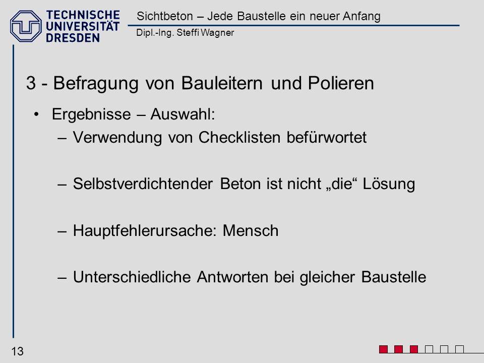 Dipl.-Ing. Steffi Wagner Sichtbeton – Jede Baustelle ein neuer Anfang 13 3 - Befragung von Bauleitern und Polieren Ergebnisse – Auswahl: –Verwendung v