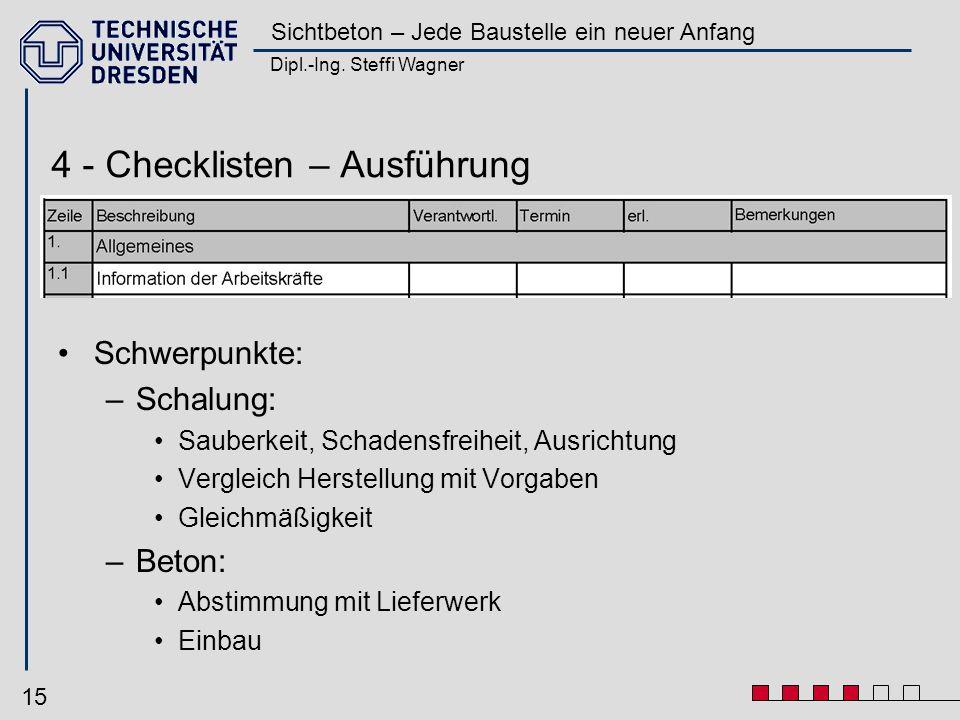 Dipl.-Ing. Steffi Wagner Sichtbeton – Jede Baustelle ein neuer Anfang 15 Schwerpunkte: –Schalung: Sauberkeit, Schadensfreiheit, Ausrichtung Vergleich