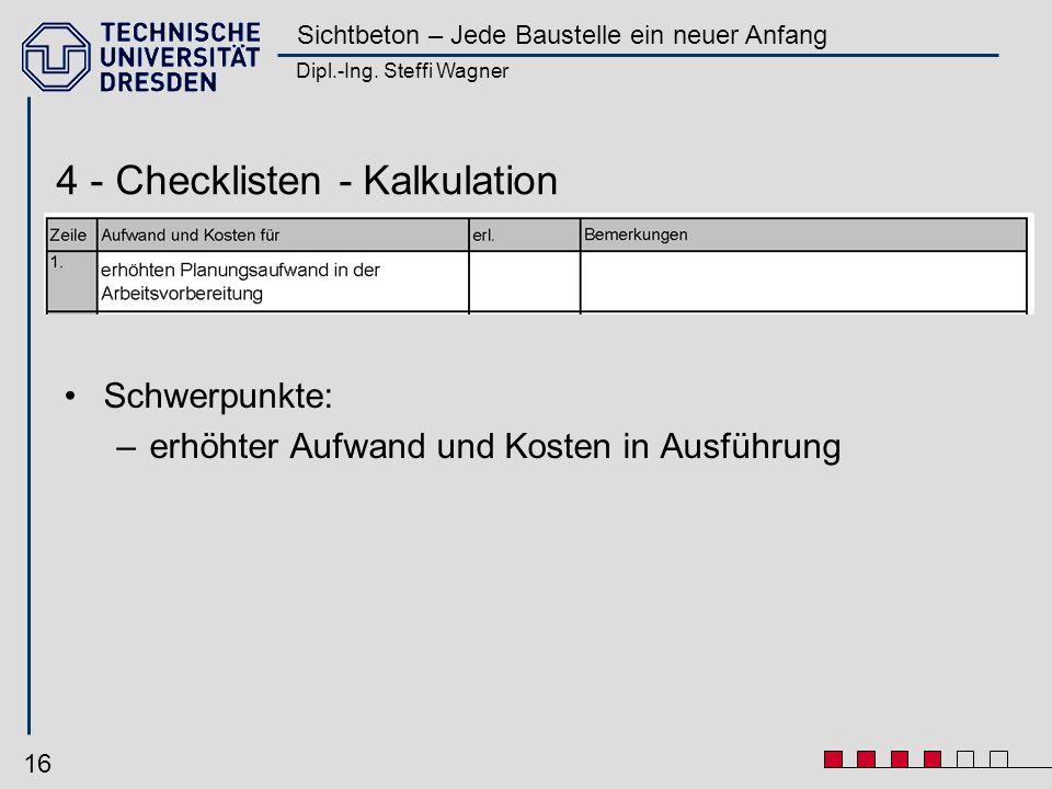 Dipl.-Ing. Steffi Wagner Sichtbeton – Jede Baustelle ein neuer Anfang 16 Schwerpunkte: –erhöhter Aufwand und Kosten in Ausführung 4 - Checklisten - Ka
