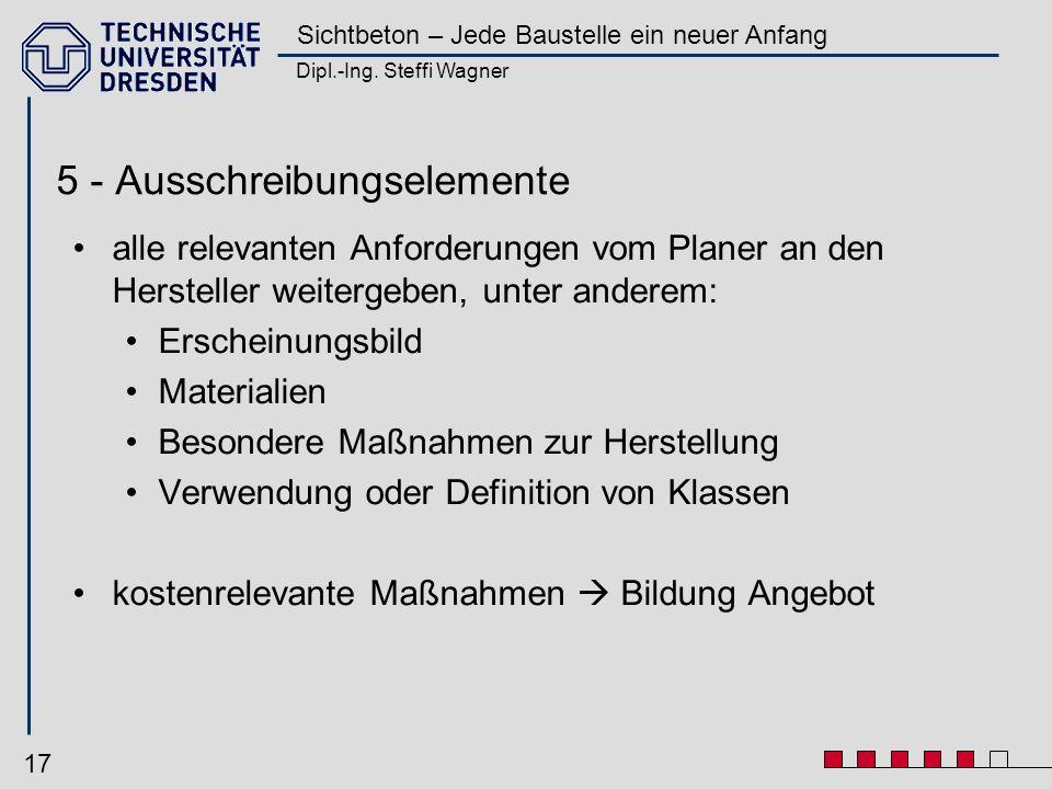 Dipl.-Ing. Steffi Wagner Sichtbeton – Jede Baustelle ein neuer Anfang 17 5 - Ausschreibungselemente alle relevanten Anforderungen vom Planer an den He