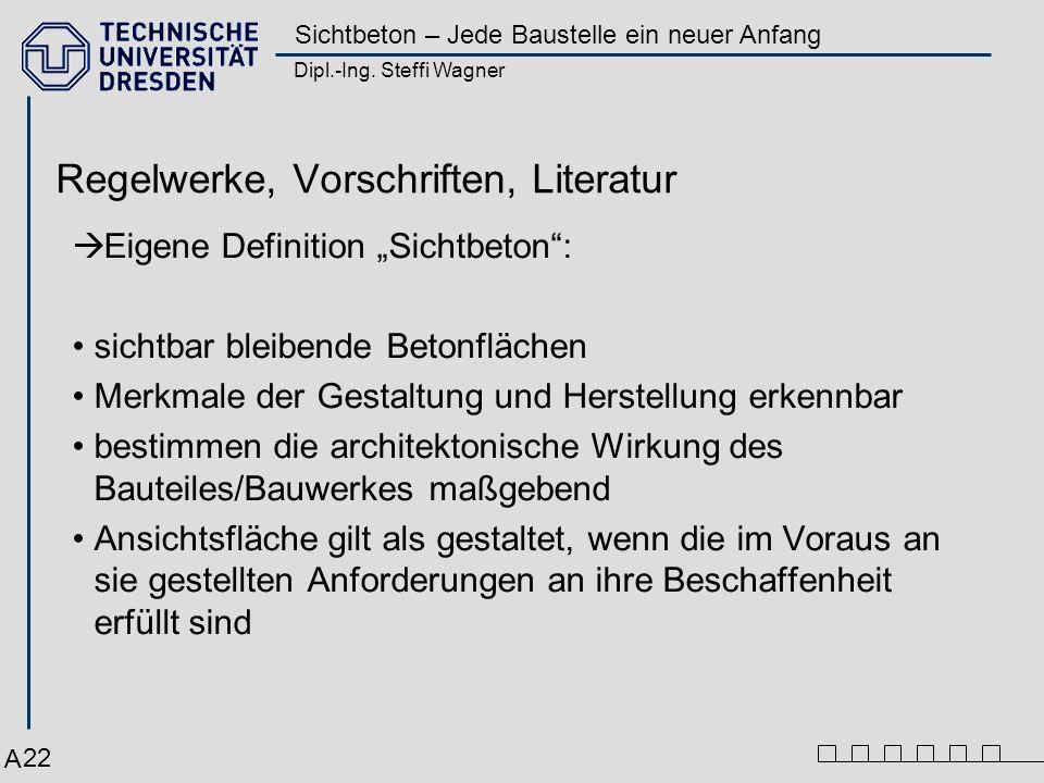 Dipl.-Ing. Steffi Wagner Sichtbeton – Jede Baustelle ein neuer Anfang 22 Regelwerke, Vorschriften, Literatur Eigene Definition Sichtbeton: sichtbar bl