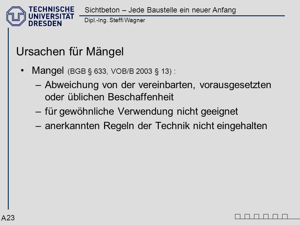 Dipl.-Ing. Steffi Wagner Sichtbeton – Jede Baustelle ein neuer Anfang 23 Mangel (BGB § 633, VOB/B 2003 § 13) : –Abweichung von der vereinbarten, vorau
