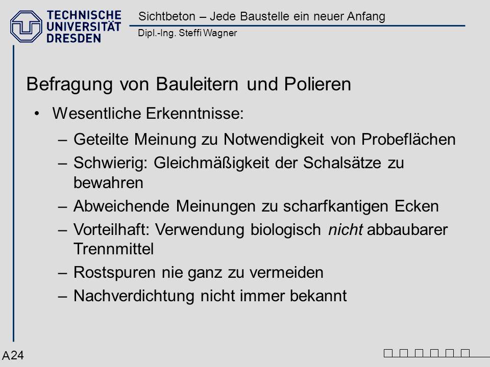 Dipl.-Ing. Steffi Wagner Sichtbeton – Jede Baustelle ein neuer Anfang 24 Befragung von Bauleitern und Polieren Wesentliche Erkenntnisse: –Geteilte Mei