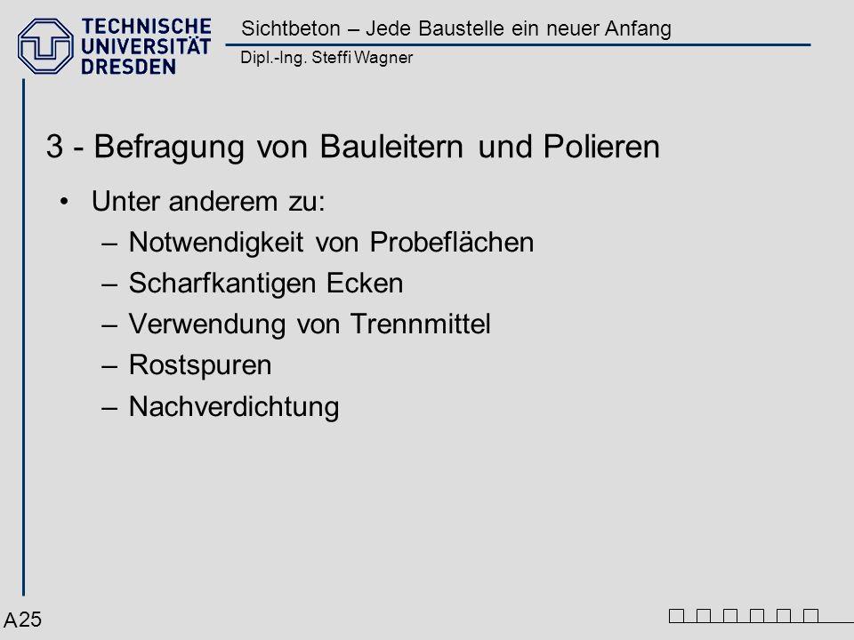 Dipl.-Ing. Steffi Wagner Sichtbeton – Jede Baustelle ein neuer Anfang 25 3 - Befragung von Bauleitern und Polieren Unter anderem zu: –Notwendigkeit vo