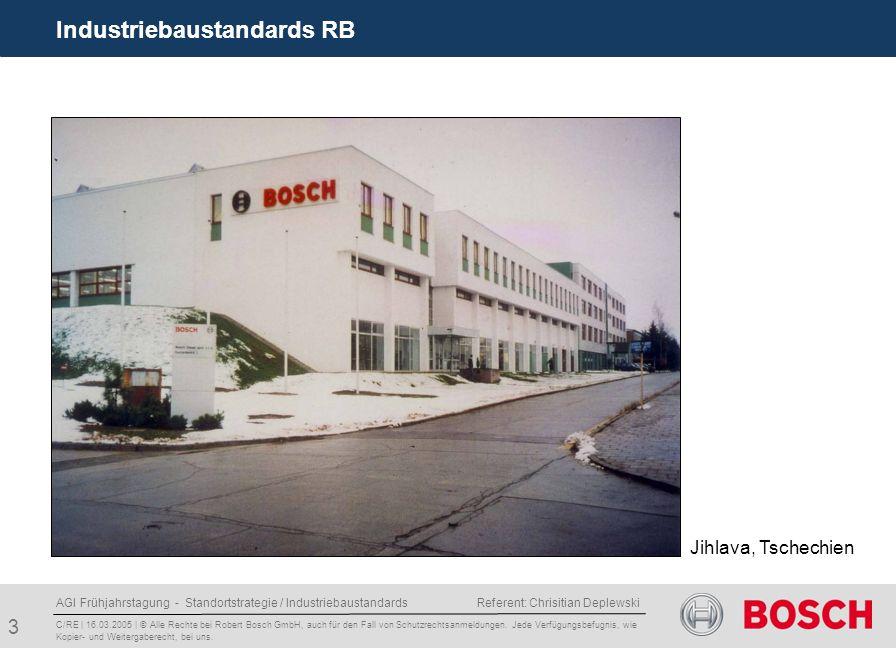 AGI Frühjahrstagung - Standortstrategie / Industriebaustandards Referent: Chrisitian Deplewski 4 Industriebaustandards RB C/RE | 16.03.2005 | © Alle Rechte bei Robert Bosch GmbH, auch für den Fall von Schutzrechtsanmeldungen.