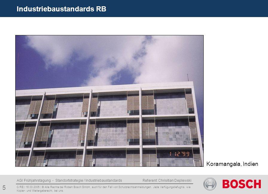 AGI Frühjahrstagung - Standortstrategie / Industriebaustandards Referent: Chrisitian Deplewski 5 Industriebaustandards RB C/RE | 16.03.2005 | © Alle Rechte bei Robert Bosch GmbH, auch für den Fall von Schutzrechtsanmeldungen.