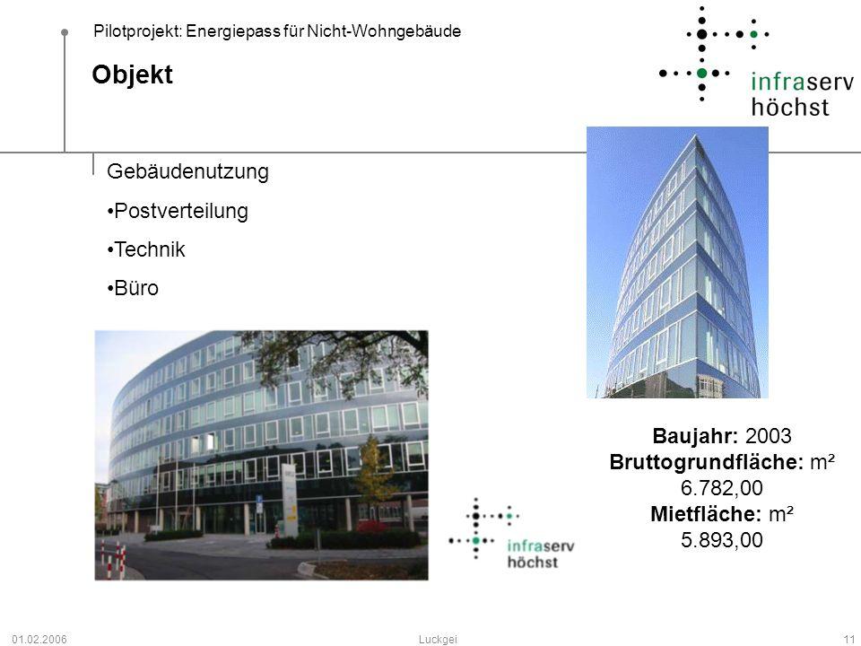 Pilotprojekt: Energiepass für Nicht-Wohngebäude 01.02.2006Luckgei11 Objekt Gebäudenutzung Postverteilung Technik Büro Baujahr: 2003 Bruttogrundfläche: