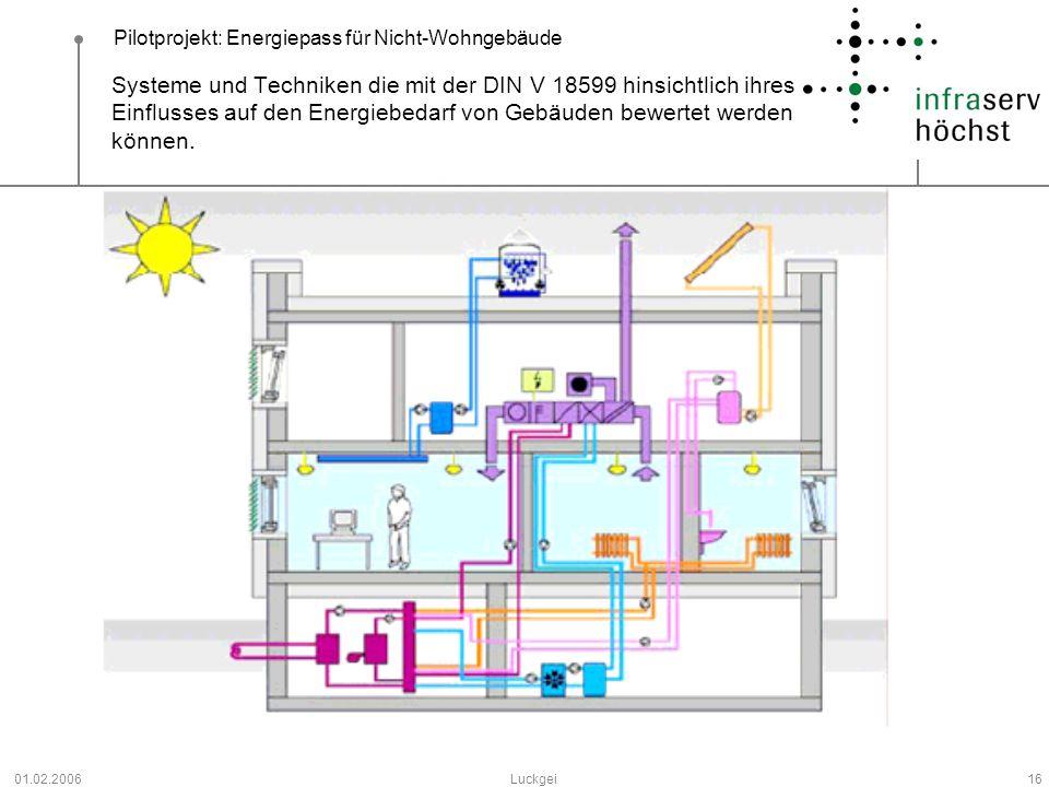 Pilotprojekt: Energiepass für Nicht-Wohngebäude 01.02.2006Luckgei16 Systeme und Techniken die mit der DIN V 18599 hinsichtlich ihres Einflusses auf de