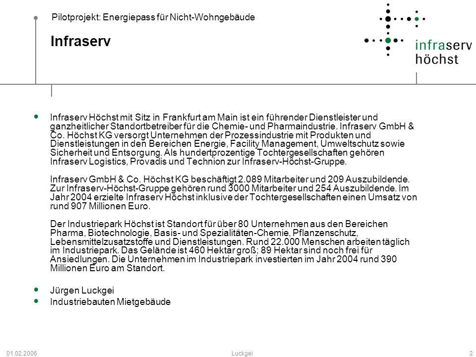 Pilotprojekt: Energiepass für Nicht-Wohngebäude 01.02.2006Luckgei2 Infraserv Infraserv Höchst mit Sitz in Frankfurt am Main ist ein führender Dienstle