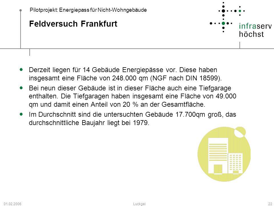 Pilotprojekt: Energiepass für Nicht-Wohngebäude 01.02.2006Luckgei22 Feldversuch Frankfurt Derzeit liegen für 14 Gebäude Energiepässe vor. Diese haben