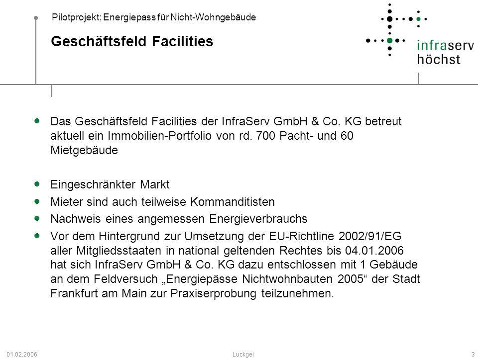 Pilotprojekt: Energiepass für Nicht-Wohngebäude 01.02.2006Luckgei3 Geschäftsfeld Facilities Das Geschäftsfeld Facilities der InfraServ GmbH & Co. KG b
