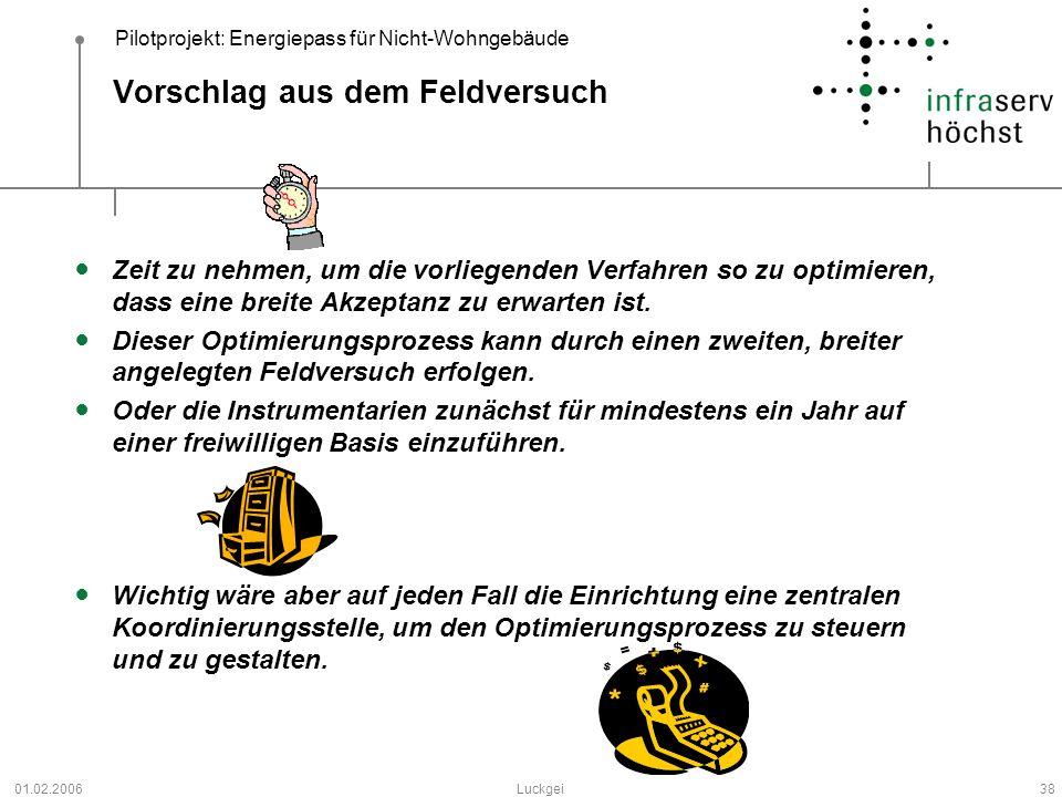 Pilotprojekt: Energiepass für Nicht-Wohngebäude 01.02.2006Luckgei38 Vorschlag aus dem Feldversuch Zeit zu nehmen, um die vorliegenden Verfahren so zu