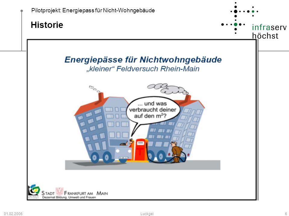 Pilotprojekt: Energiepass für Nicht-Wohngebäude 01.02.2006Luckgei6 Historie