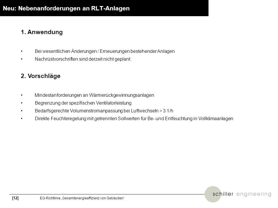 [12] EG-Richtlinie Gesamtenergieeffizienz von Gebäuden Neu: Nebenanforderungen an RLT-Anlagen 1. Anwendung Bei wesentlichen Änderungen / Erneuerungen