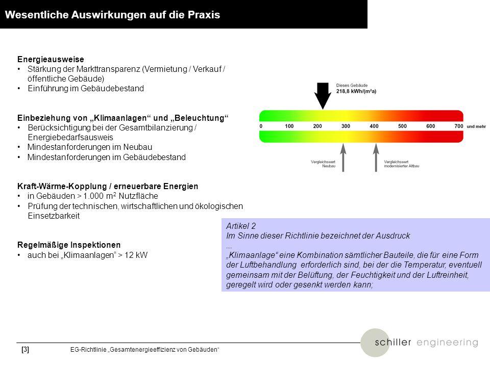 [14] EG-Richtlinie Gesamtenergieeffizienz von Gebäuden DIN 18599 - Bilanzgrenzen Beleuchtung: Teil 4 Nutzenergie Luftaufbereitung: Teil 3 Trinkwassererwärmung: Teil 8 Heizung (statisch): Teil 5 Kühlung (statisch): Teil 7 Raumlufttechnik: Teil 7 Multifunktionale Erzeugung: Teil 9 Nutzenergie Wärme / Kälte: Teil 2