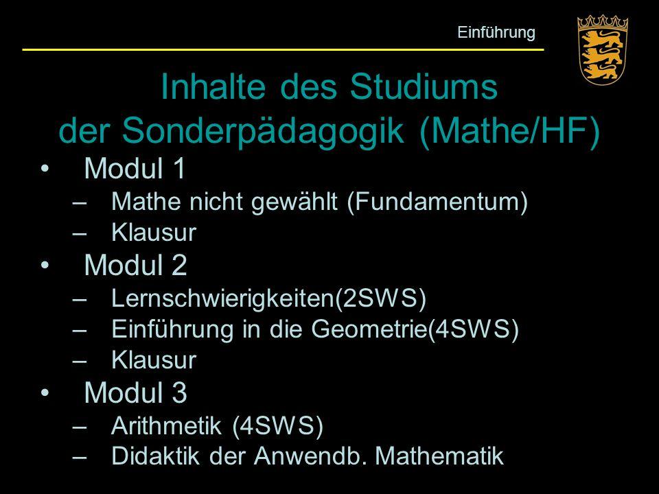 Inhalte des Studiums der Sonderpädagogik (Mathe/HF) Modul 1 –Mathe nicht gewählt (Fundamentum) –Klausur Modul 2 –Lernschwierigkeiten(2SWS) –Einführung
