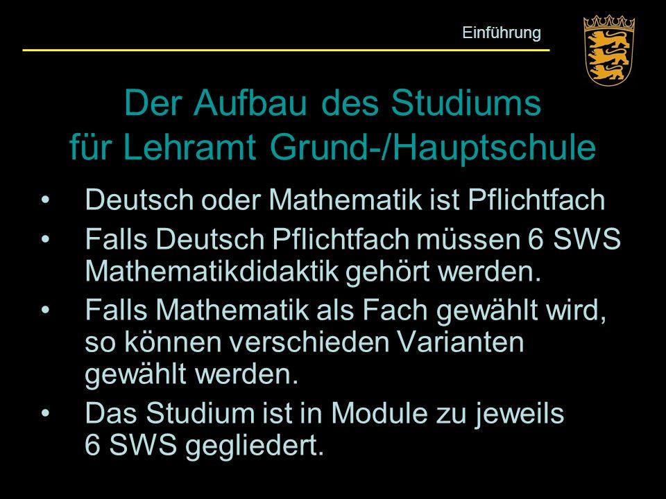 Der Aufbau des Studiums für Lehramt Grund-/Hauptschule Deutsch oder Mathematik ist Pflichtfach Falls Deutsch Pflichtfach müssen 6 SWS Mathematikdidakt
