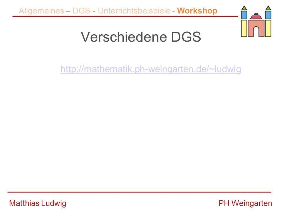 PH WeingartenMatthias Ludwig Verschiedene DGS Allgemeines – DGS - Unterrichtsbeispiele - Workshop http://mathematik.ph-weingarten.de/~ludwig