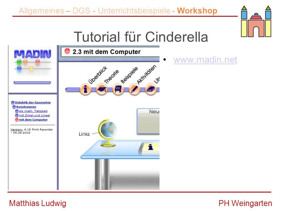 PH WeingartenMatthias Ludwig Tutorial für Cinderella Allgemeines – DGS - Unterrichtsbeispiele - Workshop www.madin.net –Didaktik der Geometrie Konstruieren –mit dem Computer