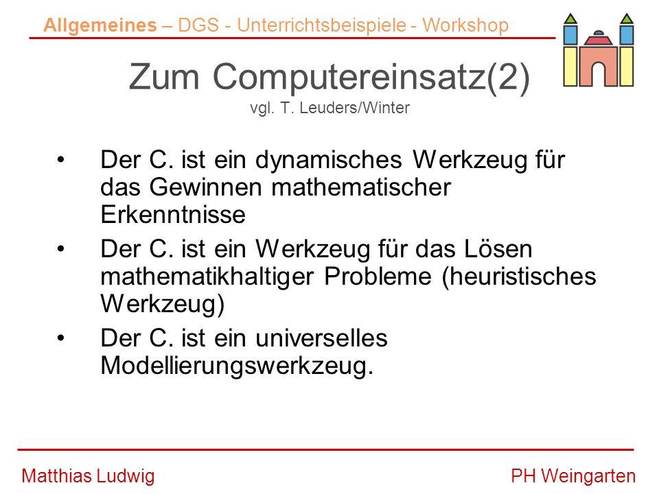 PH WeingartenMatthias Ludwig Zum Computereinsatz(2) vgl.