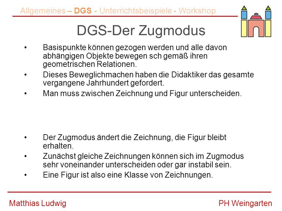 PH WeingartenMatthias Ludwig DGS-Der Zugmodus Basispunkte können gezogen werden und alle davon abhängigen Objekte bewegen sch gemäß ihren geometrischen Relationen.