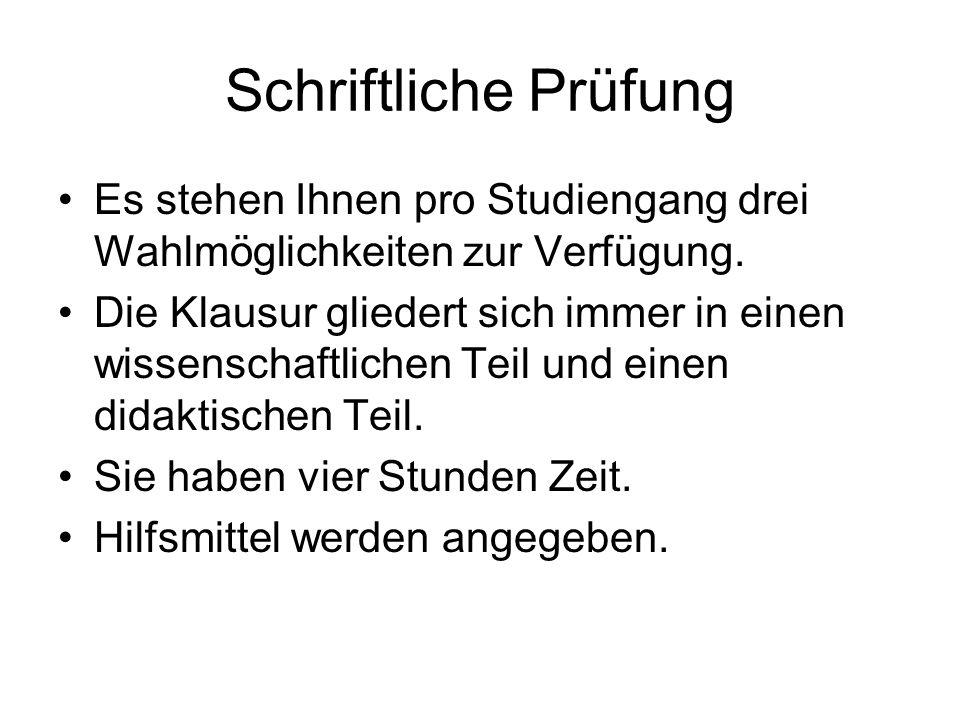 Schriftliche Prüfung Vorschläge Grundschule I.1.