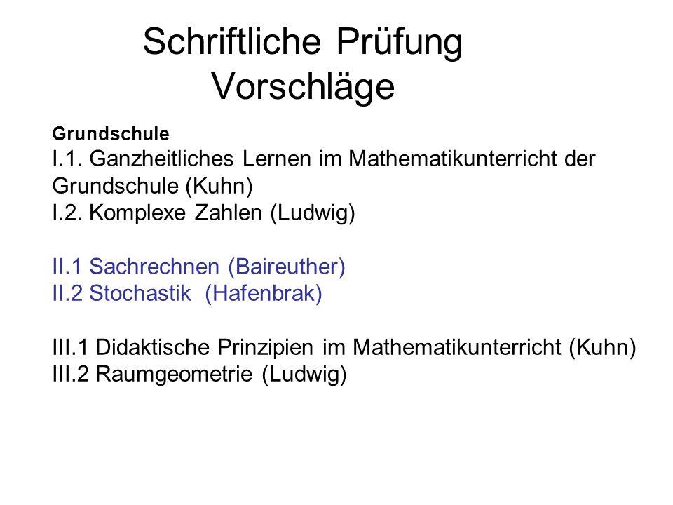 Schriftliche Prüfung Vorschläge Hauptschule I.1.Problemlösen (Hafenbrak) I.2.