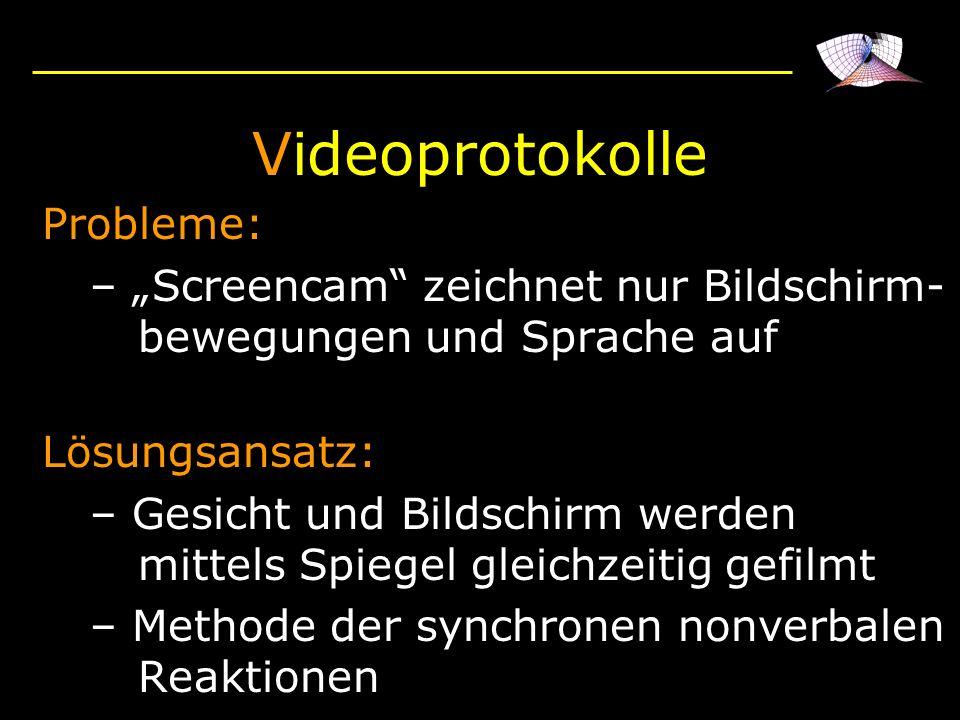 Probleme: – Screencam zeichnet nur Bildschirm- bewegungen und Sprache auf Lösungsansatz: – Gesicht und Bildschirm werden mittels Spiegel gleichzeitig