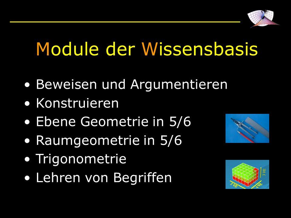 Module der Wissensbasis Beweisen und Argumentieren Konstruieren Ebene Geometrie in 5/6 Raumgeometrie in 5/6 Trigonometrie Lehren von Begriffen