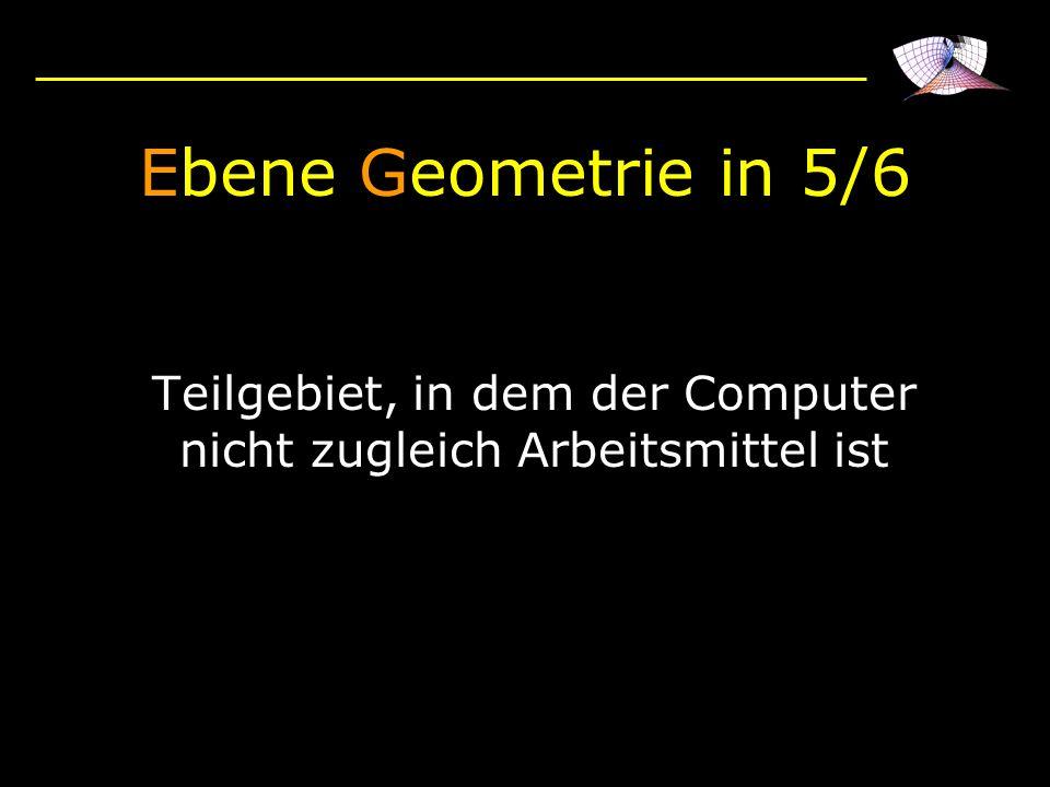 Ebene Geometrie in 5/6 Teilgebiet, in dem der Computer nicht zugleich Arbeitsmittel ist