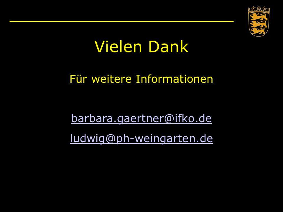 Vielen Dank Für weitere Informationen barbara.gaertner@ifko.de ludwig@ph-weingarten.de