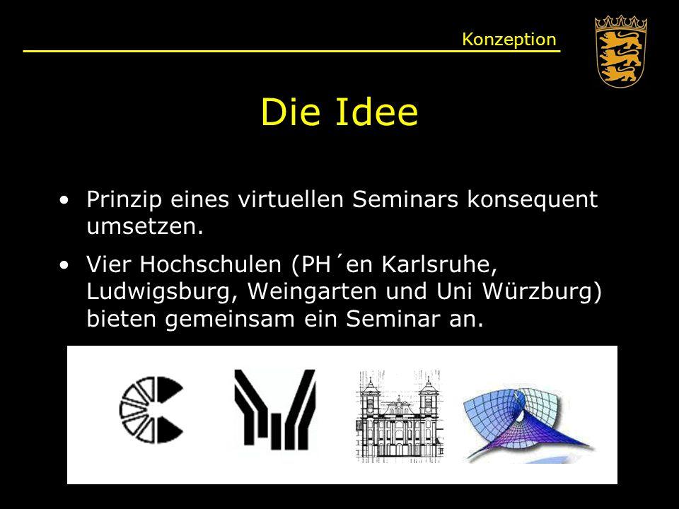 Die Idee Prinzip eines virtuellen Seminars konsequent umsetzen.