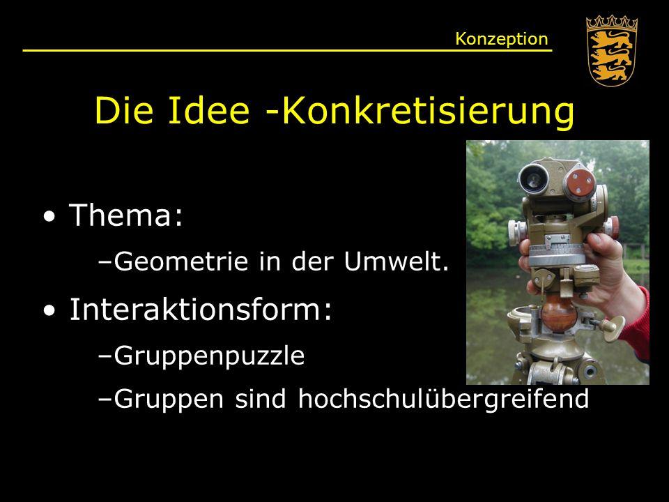 Die Idee -Konkretisierung Thema: –Geometrie in der Umwelt.