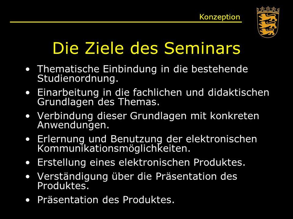 Die Ziele des Seminars Thematische Einbindung in die bestehende Studienordnung.