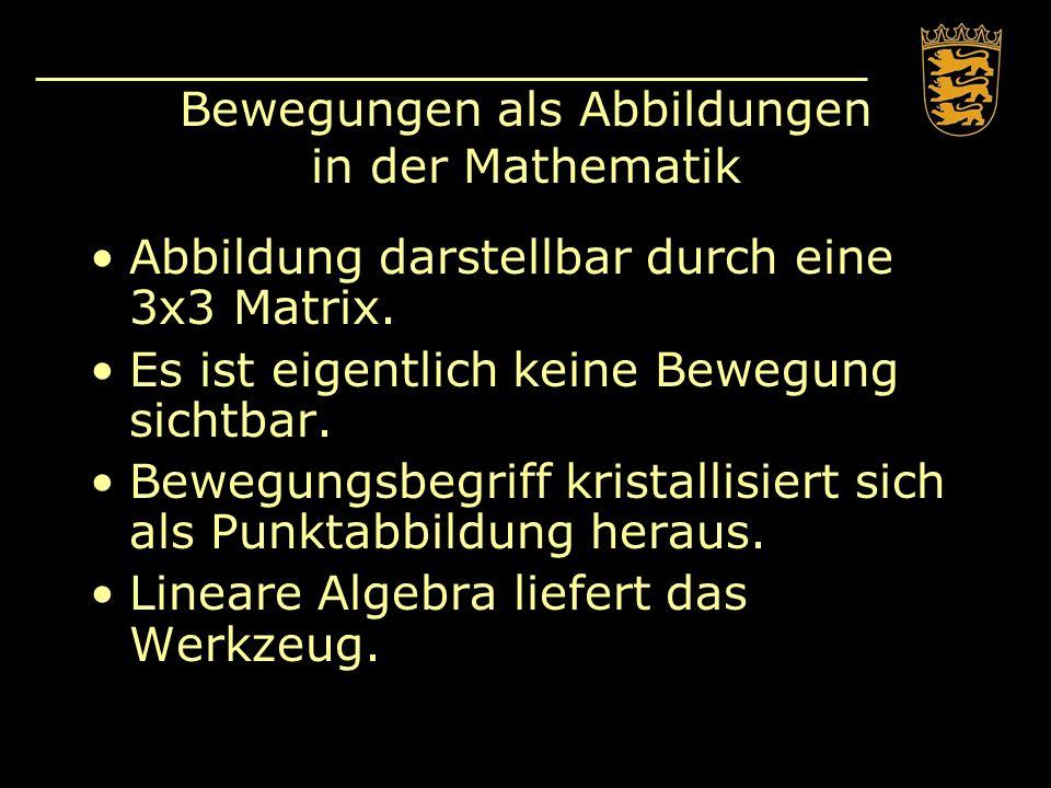 Bewegungen als Abbildungen in der Mathematik Abbildung darstellbar durch eine 3x3 Matrix. Es ist eigentlich keine Bewegung sichtbar. Bewegungsbegriff