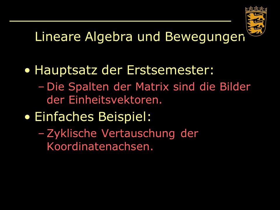 Lineare Algebra und Bewegungen Hauptsatz der Erstsemester: –Die Spalten der Matrix sind die Bilder der Einheitsvektoren. Einfaches Beispiel: –Zyklisch