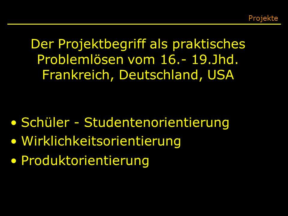 Der Projektbegriff als praktisches Problemlösen vom 16.- 19.Jhd. Frankreich, Deutschland, USA Projekte Schüler - Studentenorientierung Wirklichkeitsor
