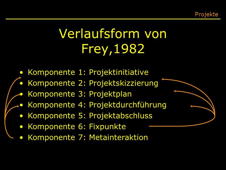 Verlaufsform von Frey,1982 Projekte Komponente 1: Projektinitiative Komponente 2: Projektskizzierung Komponente 3: Projektplan Komponente 4: Projektdu