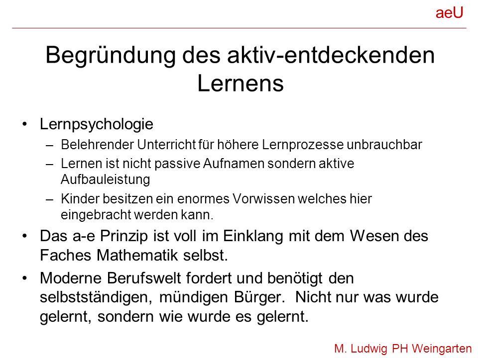 Weitere Begründung des aktiv- entdeckenden Lernens Alina Seminzka (1981): –Wurzel der Misserfolge im Rechenunterricht sind verdrängte Verstehensprozesse durch mechanisch Anwendung auswendig Gelerntem.