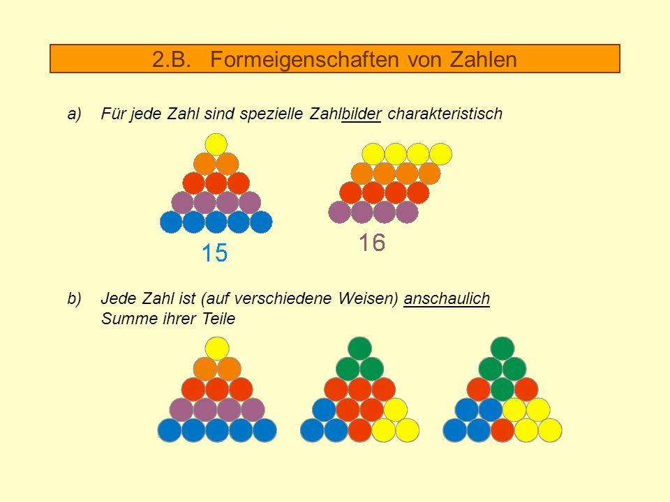 2.B. Formeigenschaften von Zahlen a)Für jede Zahl sind spezielle Zahlbilder charakteristisch b) Jede Zahl ist (auf verschiedene Weisen) anschaulich Su