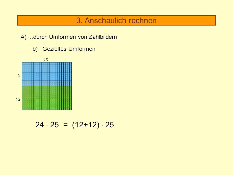 3. Anschaulich rechnen A)...durch Umformen von Zahlbildern b) Gezieltes Umformen 24 25 = (12+12) 25