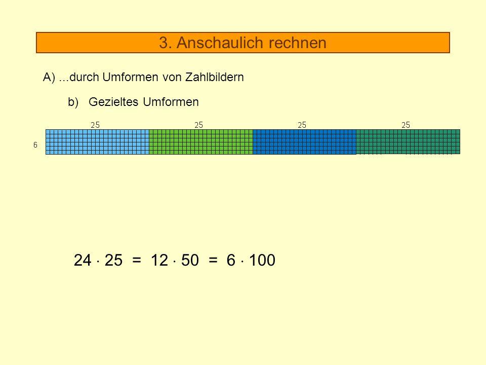 3. Anschaulich rechnen A)...durch Umformen von Zahlbildern b) Gezieltes Umformen 24 25 = 12 50 = 6 100